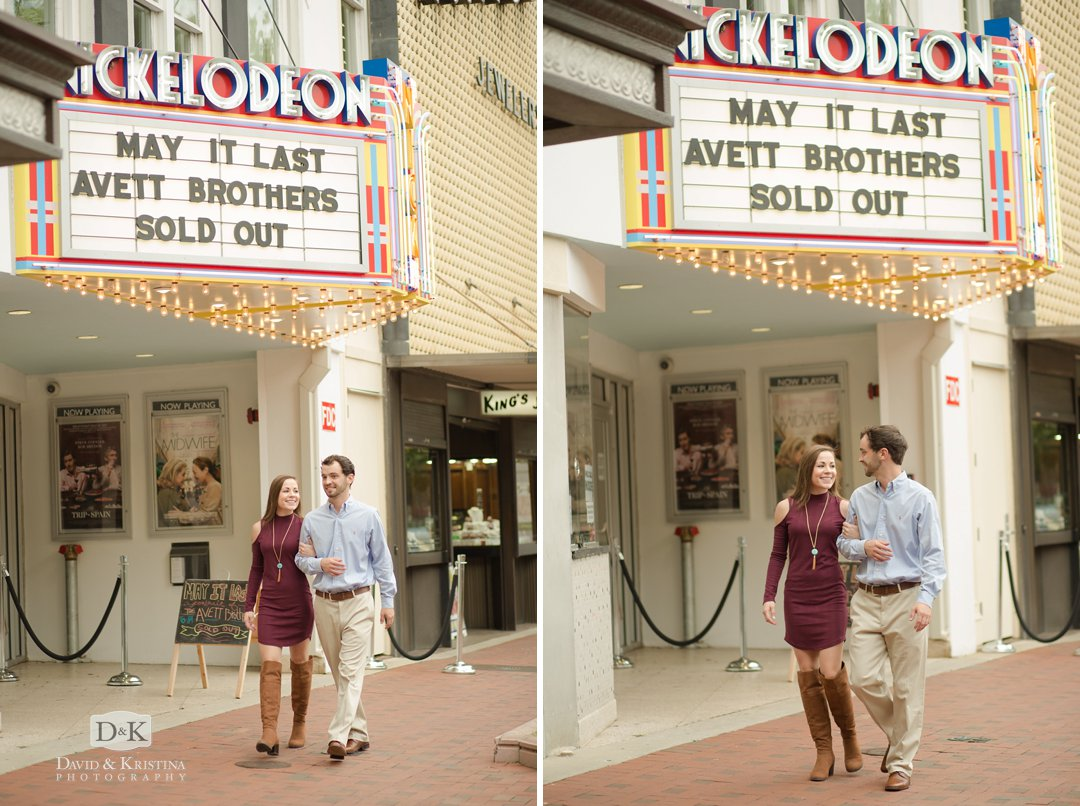 Nickelodeon Theater Columbia SC engagement photos