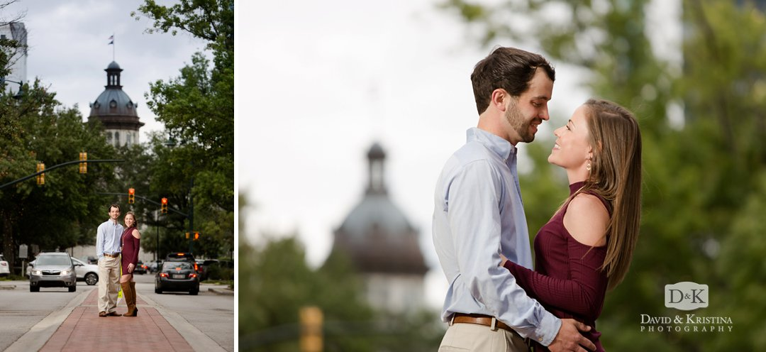 engagement photos at South Carolina State House