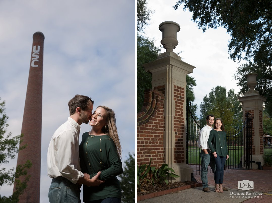 engagement photo in front of brick smokestack on the USC Horseshoe