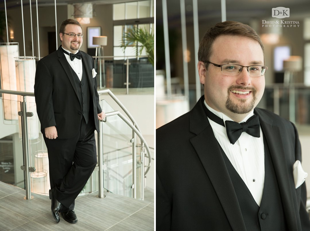 groom's portrait in Embassy Suites Greenville Riverwalk