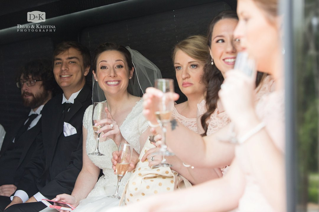 riding the bus with the wedding party