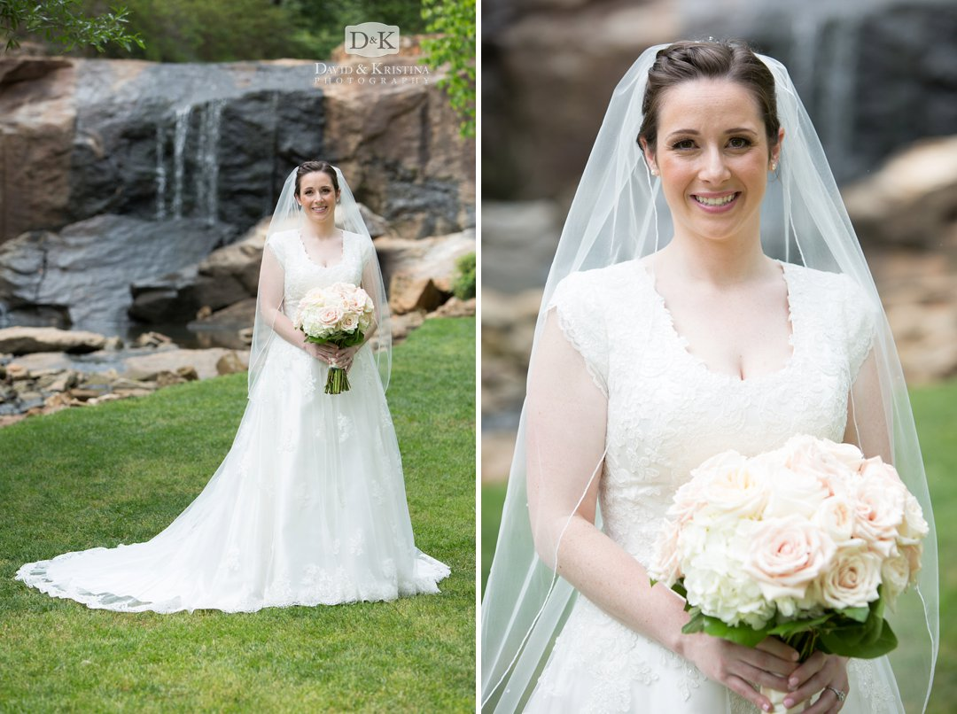 Carrie's bridal portrait in the Rock Quarry Garden