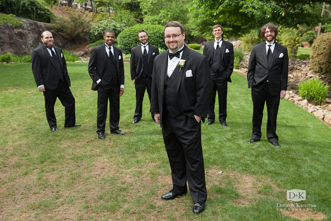 Groomsmen at Rock Quarry Garden