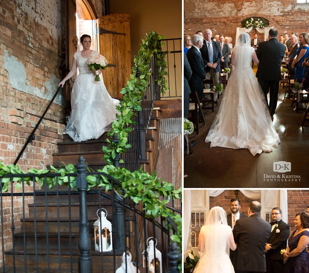 bride walking down steps at Old Cigar Warehouse