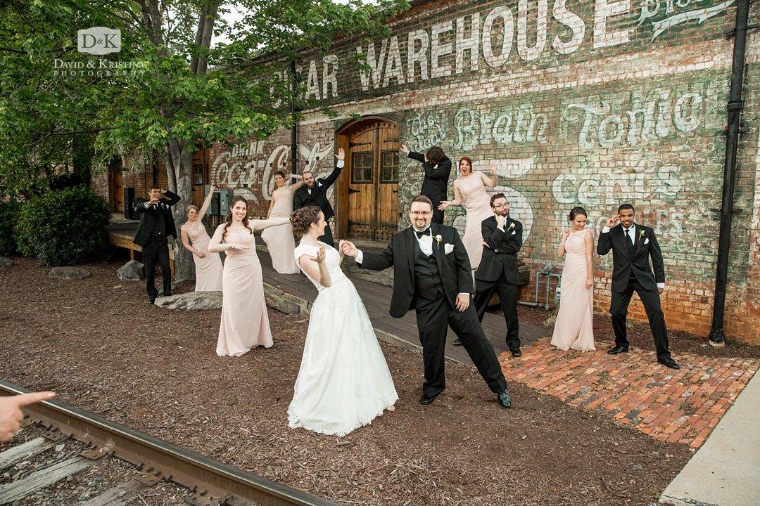 Old Cigar Warehouse brick wall by railroad tracks