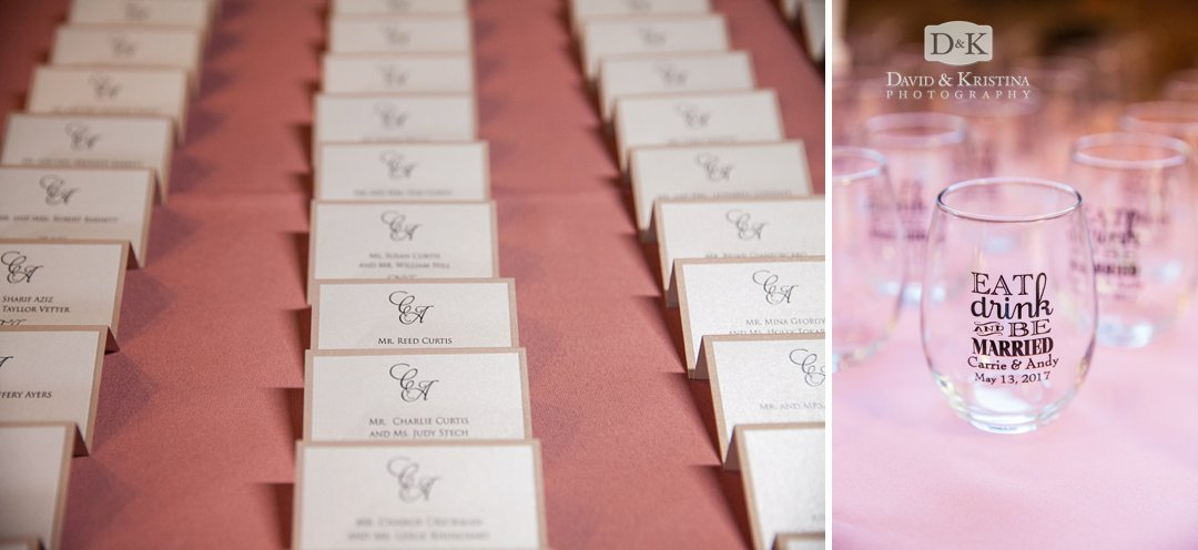customized wine glasses as wedding guest favors