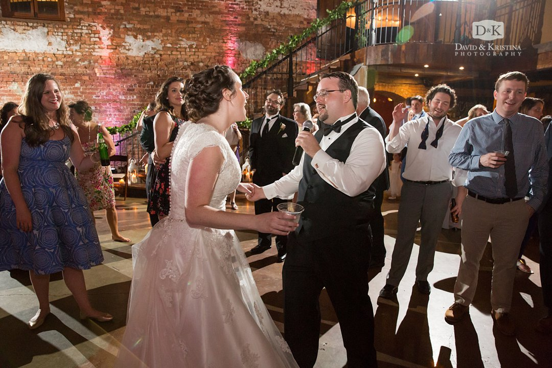 Groom singing on the dance floor