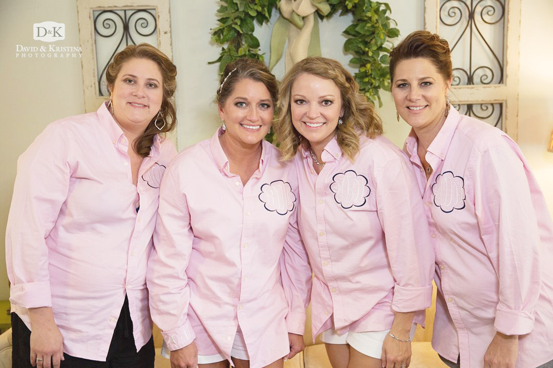 bridesmaids in pink monogrammed shirts