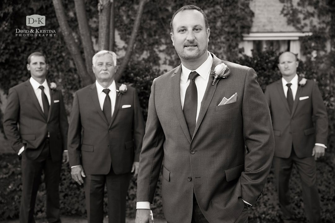 Groom with groomsmen at Twigs Tempietto