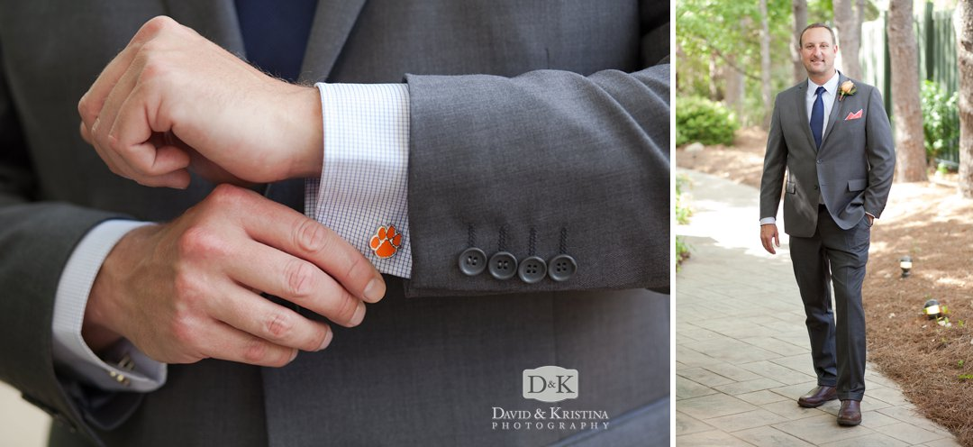 Clemson Tiger Paw cufflinks worn by groom with grey suit at wedding