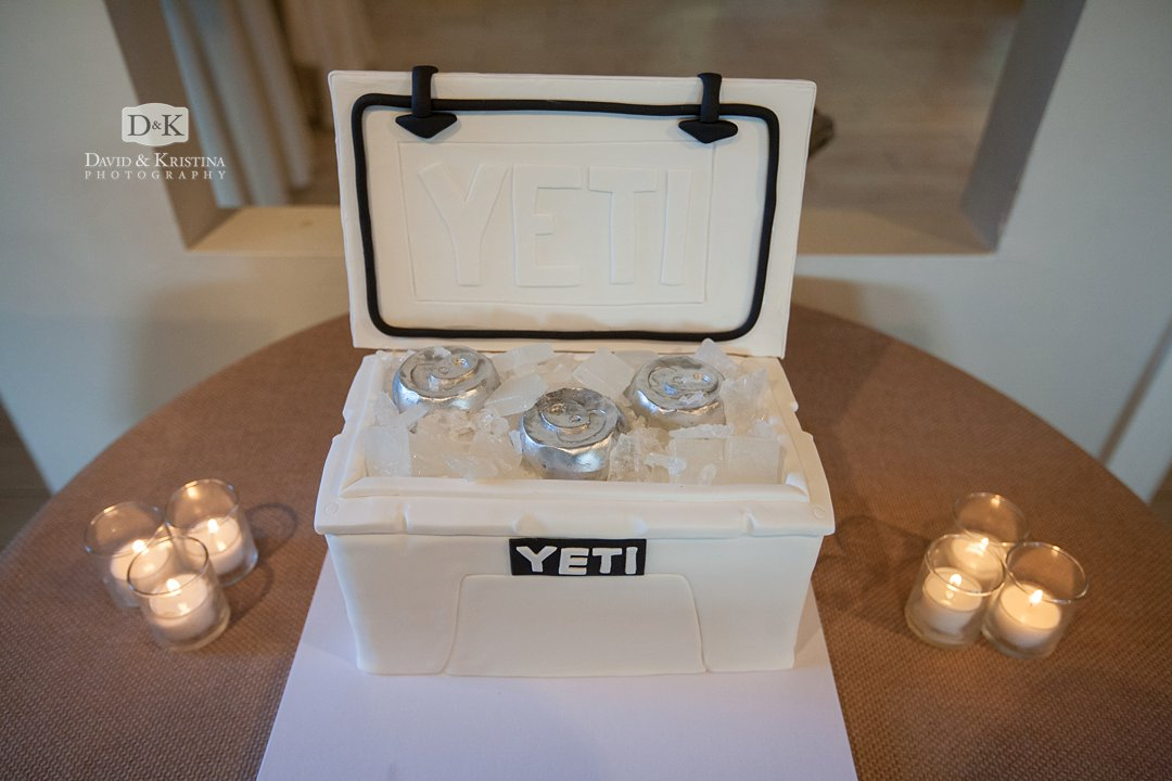 Yeti cooler wedding cake made of fondant icing by Couture Cakes