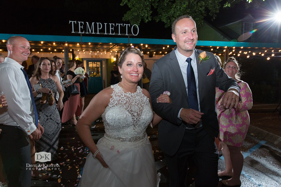 Flower petals for bride and groom exit at Twigs Tempietto wedding venue