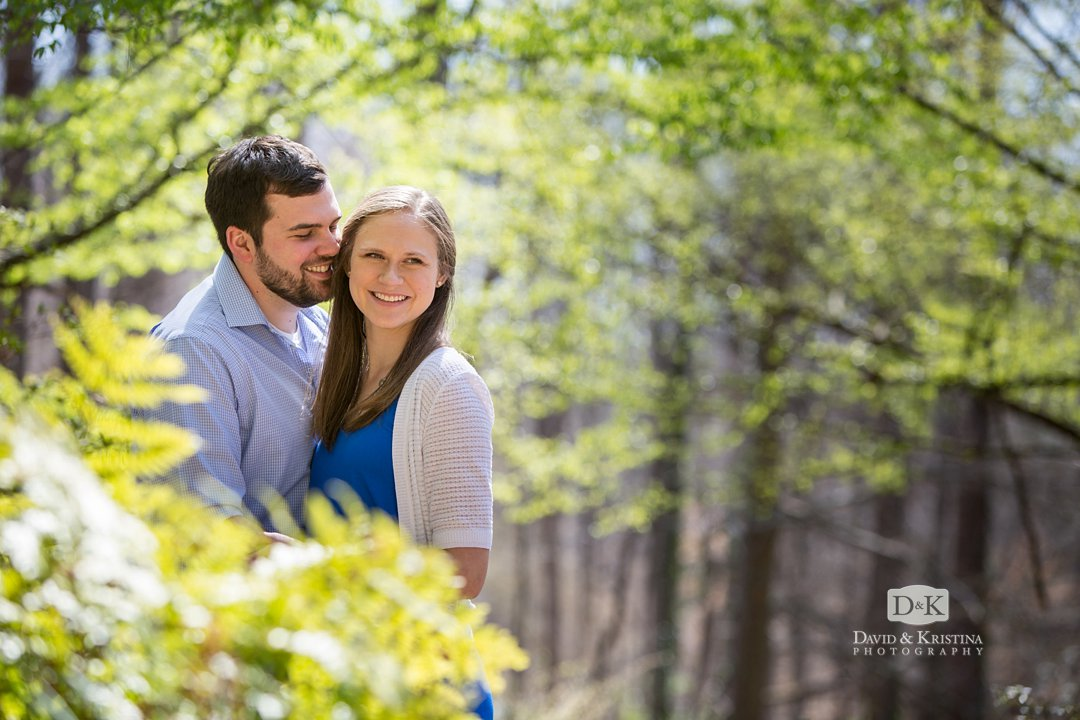Engagement photo at Clemson Botanical Gardens