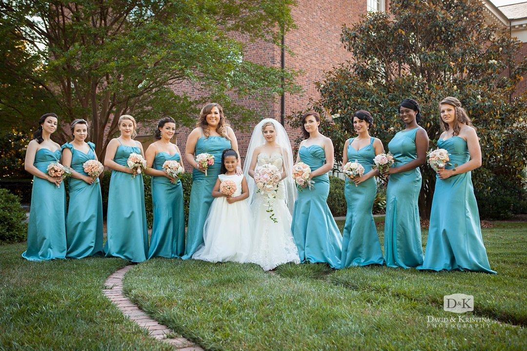 bridesmaids in teal dresses