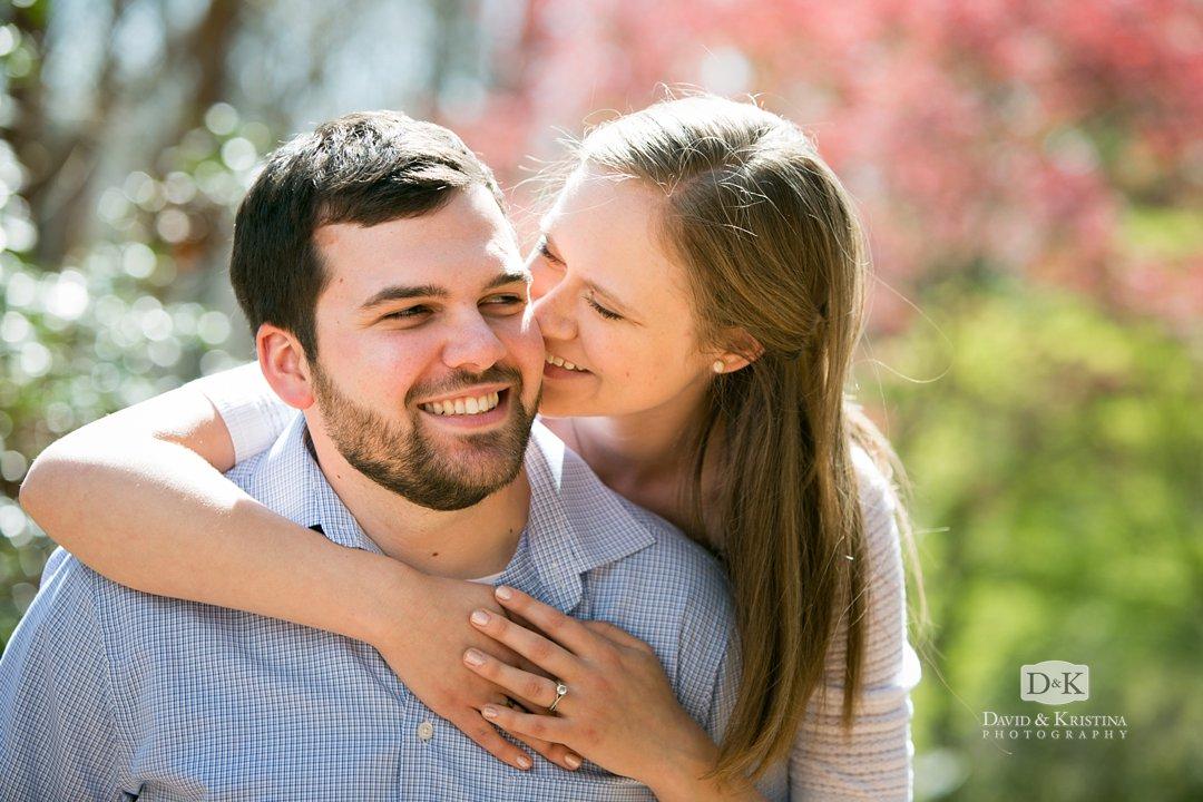 Amanda kissing Rob at Clemson Botanical Gardens