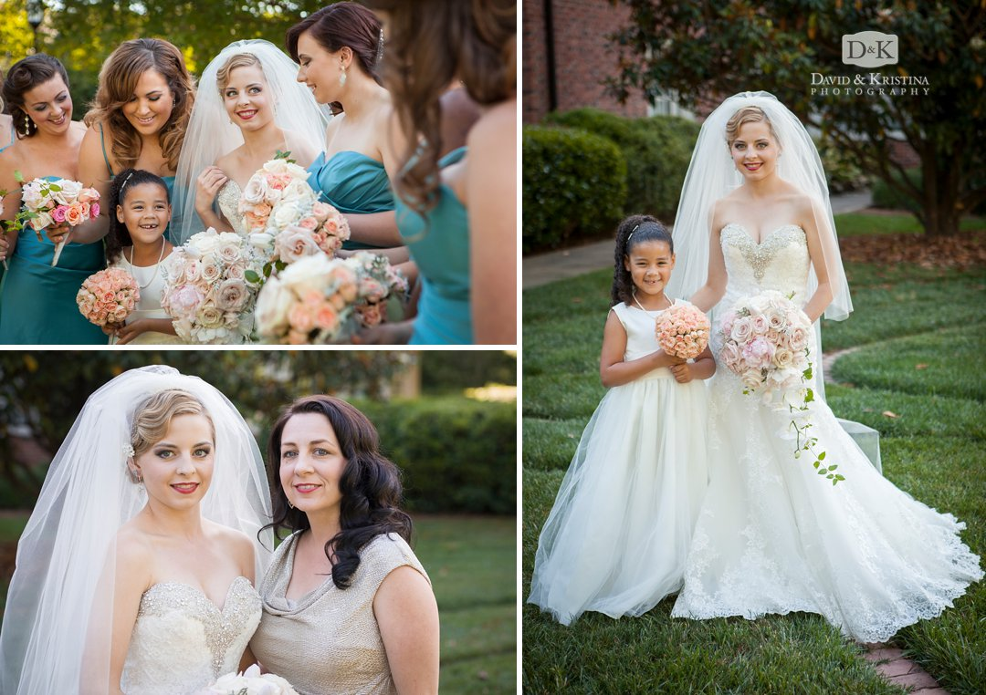 bridesmaids in teal dresses with bouquets