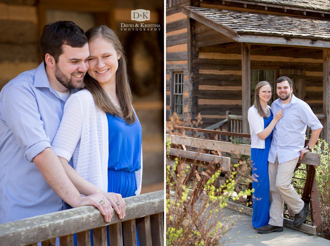 Rob and Amanda at Clemson Botanical Gardens Log Cabin