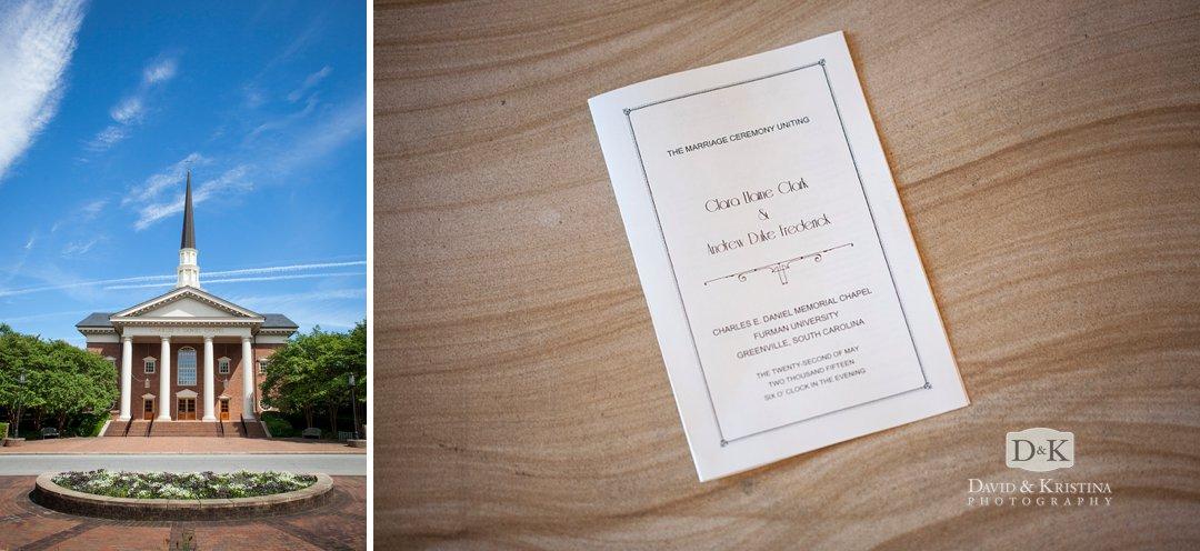 Daniel Chapel wedding at Furman University