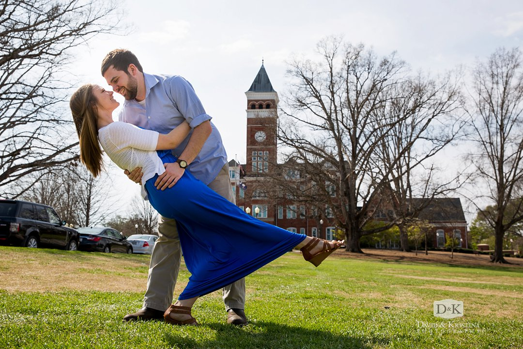 Rob dipping Amanda at Clemson Tillman Hall engagement session