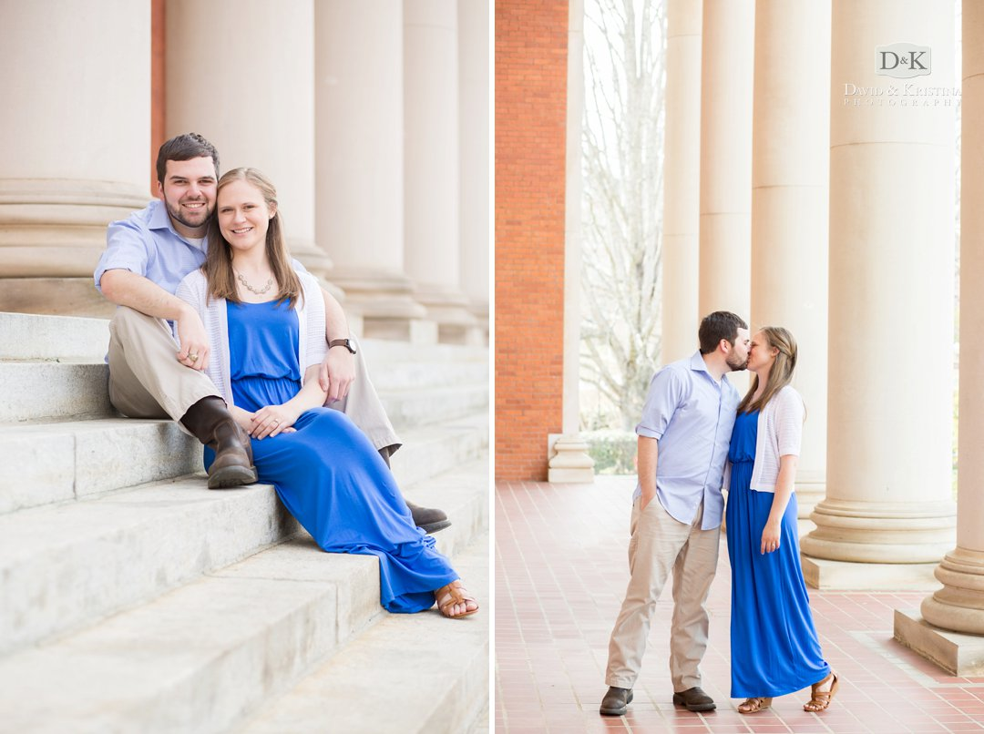 Sikes Hall Clemson engagement photo of Rob and Amanda