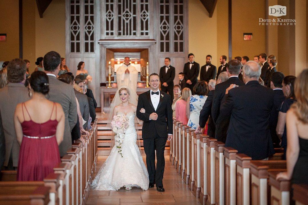 bride and groom walk down aisle Daniel Chapel wedding