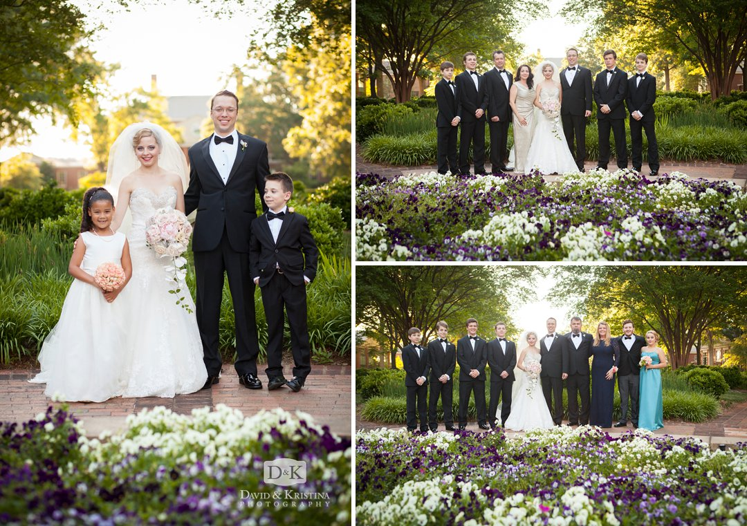 family group wedding pictures at Furman