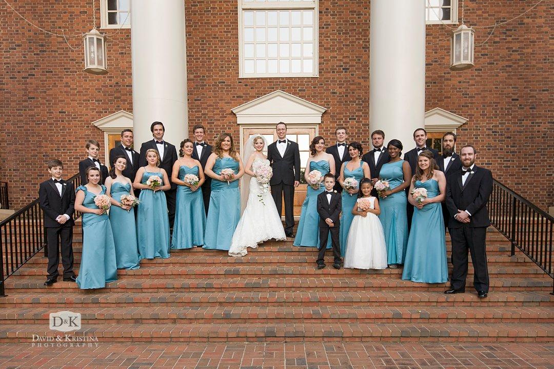 bridal party on front steps at Furman Daniel Chapel