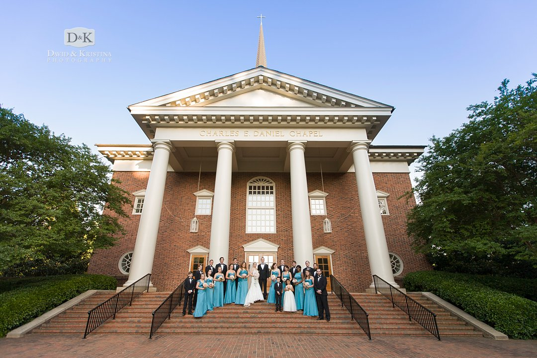 wedding party at Furman Daniel Chapel