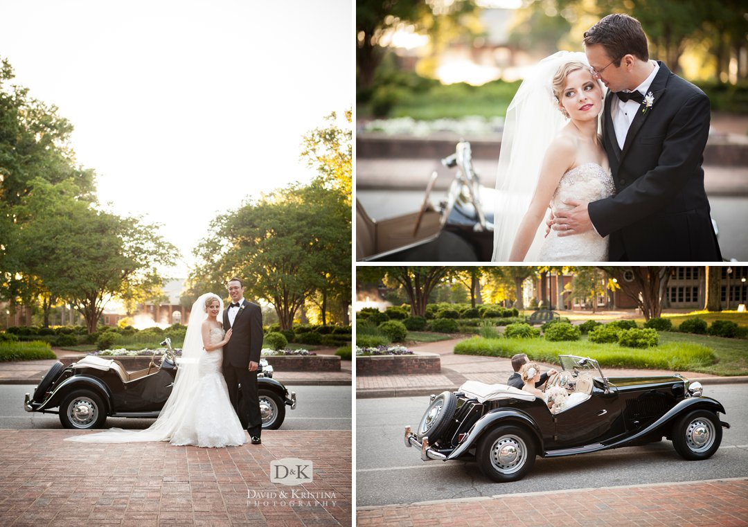 bride and groom with antique car 1950 MG at Furman