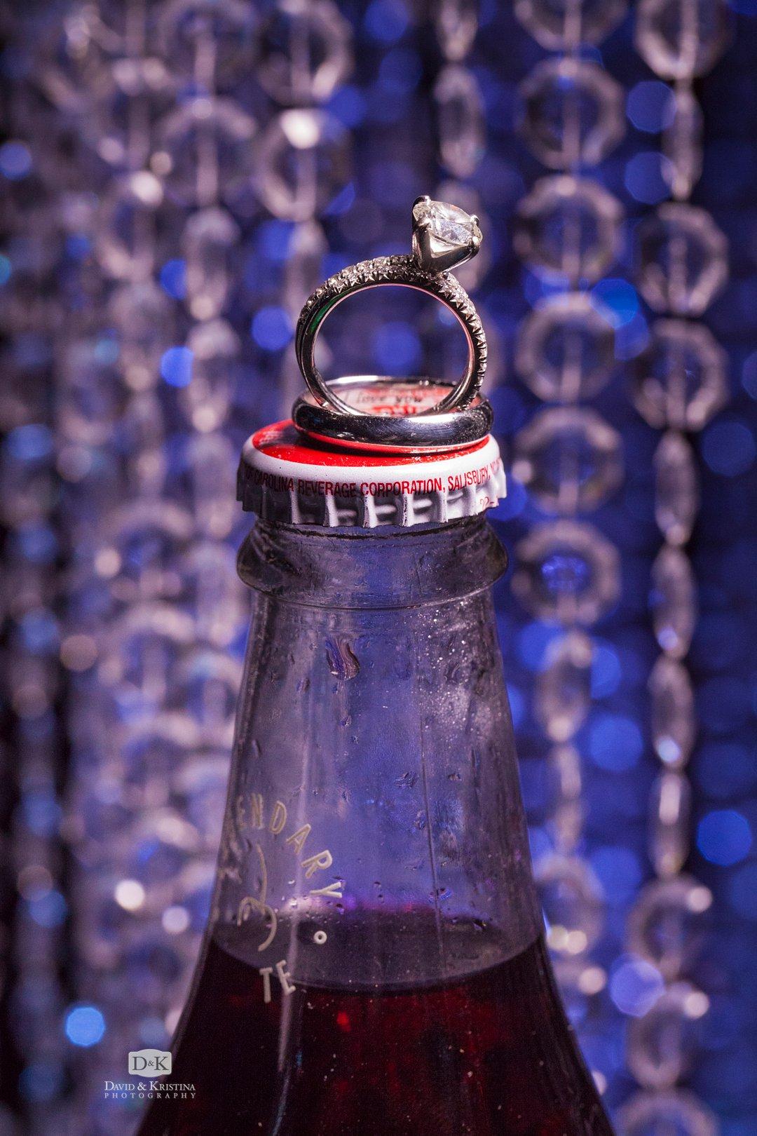 wedding rings on Cheerwine bottle