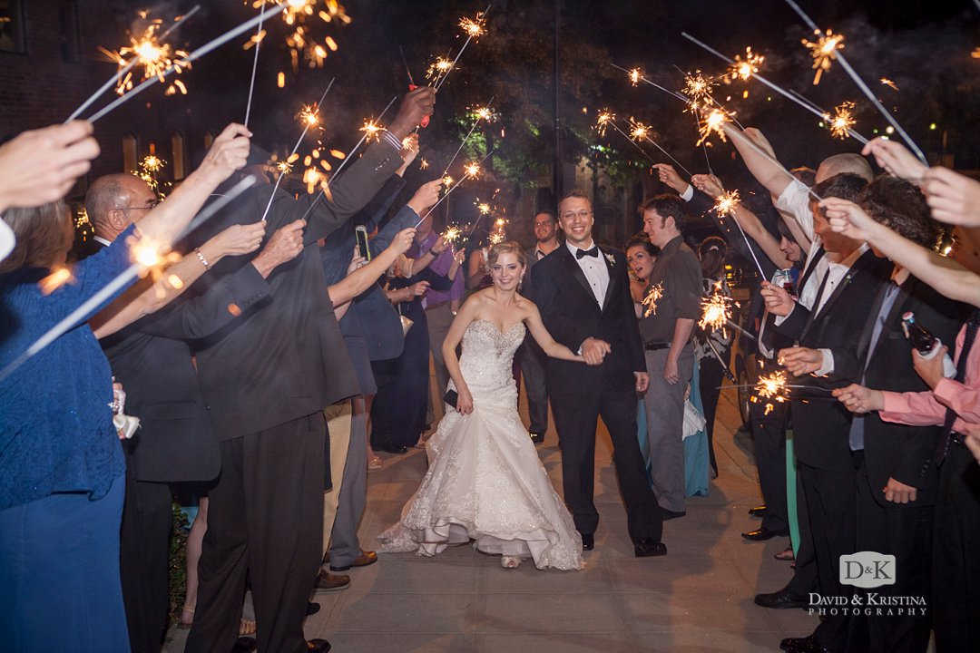 sparkler exit at Huguenot Mill Loft at the Peace Center