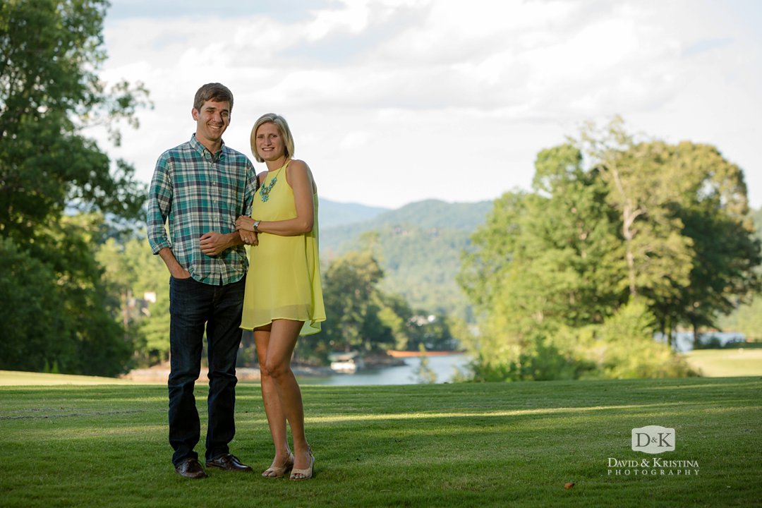 Ben and Shannon on golf course at lake