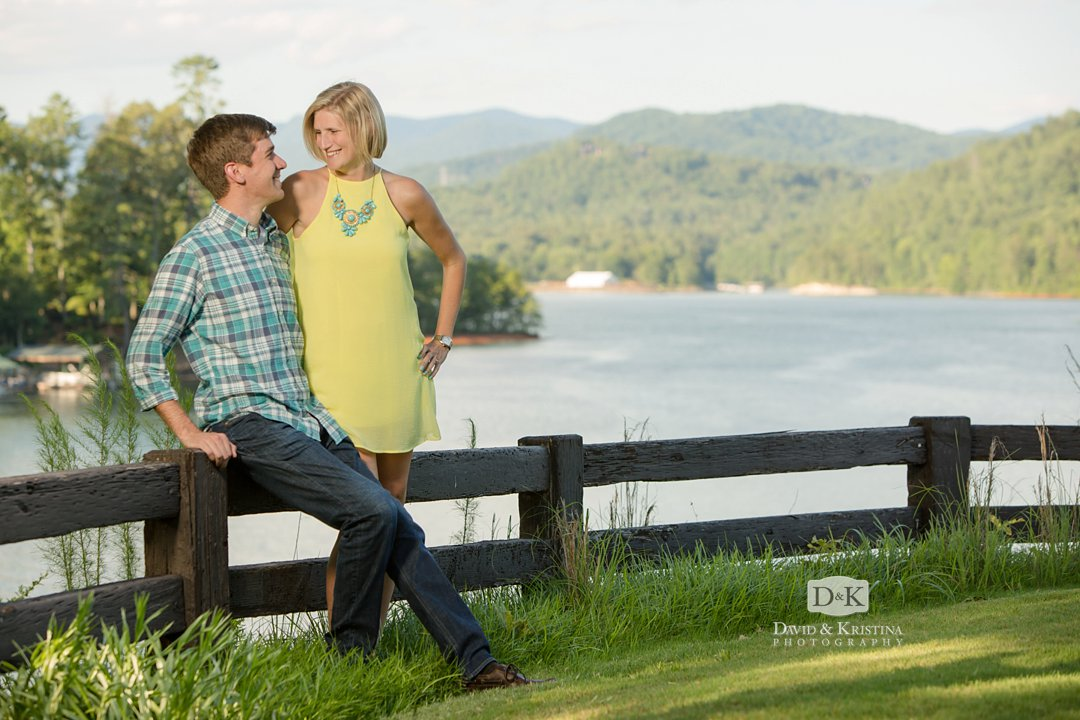 Lake Keowee engagement photos at Cliffs at Keowee Vineyards