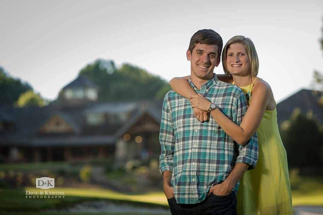 Engagement photo at Cliffs at Keowee Vineyards clubhouse