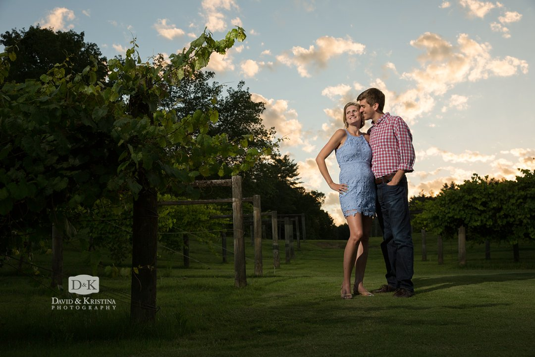 Sunset engagement photo at The Cliffs at Keowee Vineyards