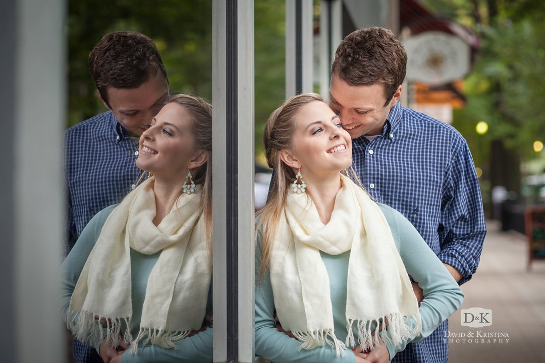 reflection in window Fall Engagement session