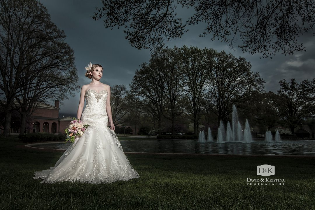 Furman bridal portrait in front of heavy storm and rain clouds