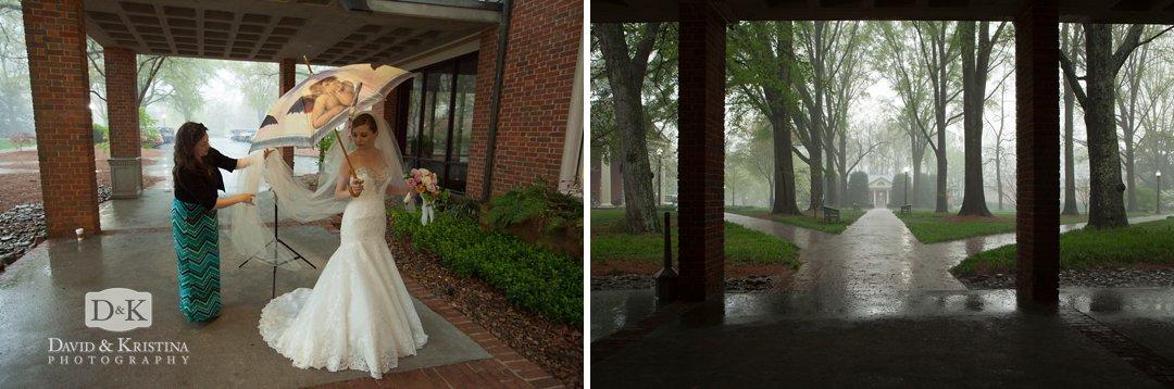 raining during bridal portrait session at Furman
