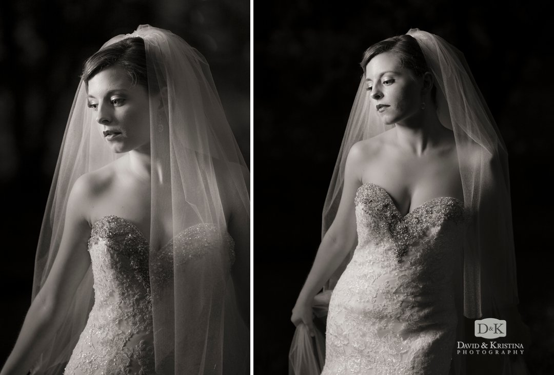 bridal portrait outside at night