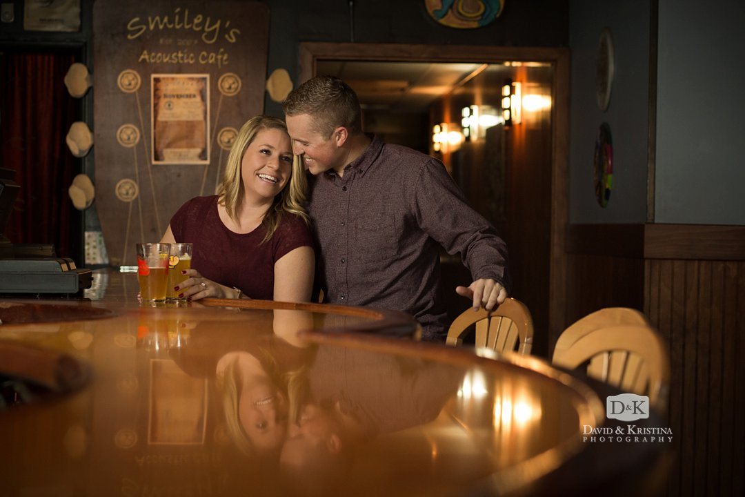 Engagement photos at Smiley's Acoustic Café in Greenville SC