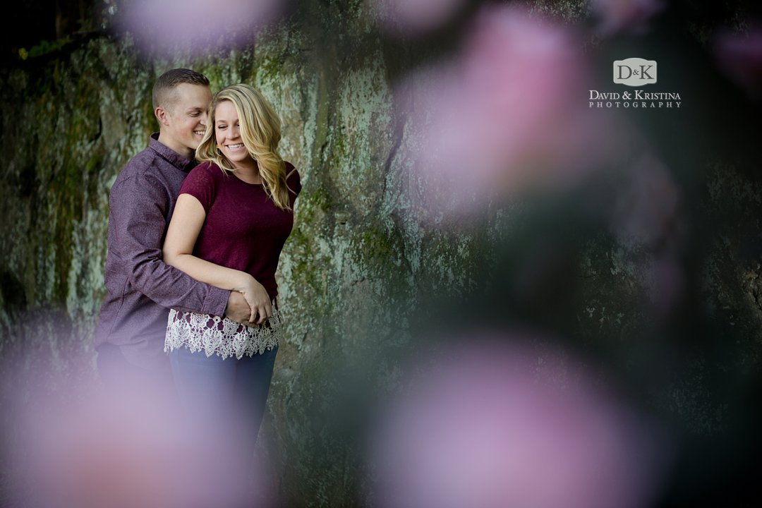 moss covered stone wall engagement photo