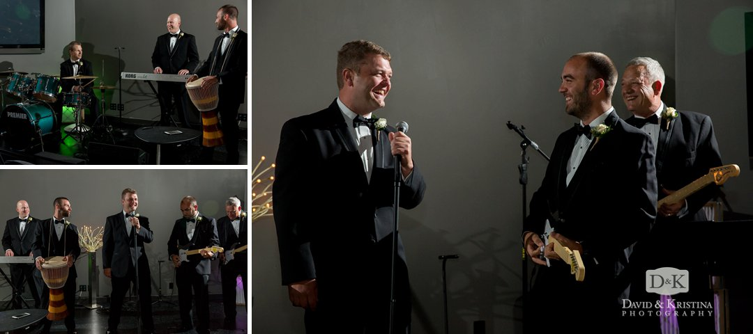 groom pretending to sing in a rock band before wedding