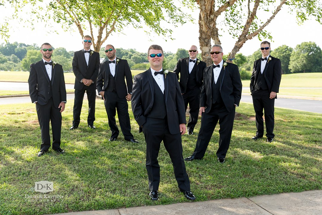 groom and groomsmen in sunglasses