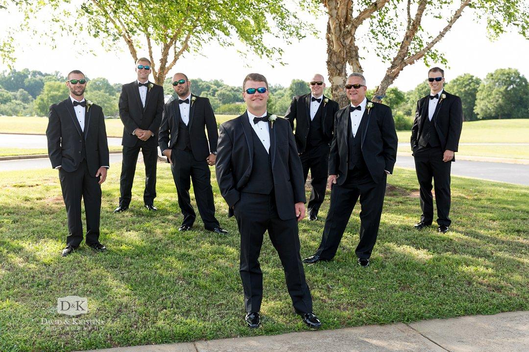 groom and groomsmen in sunglasses