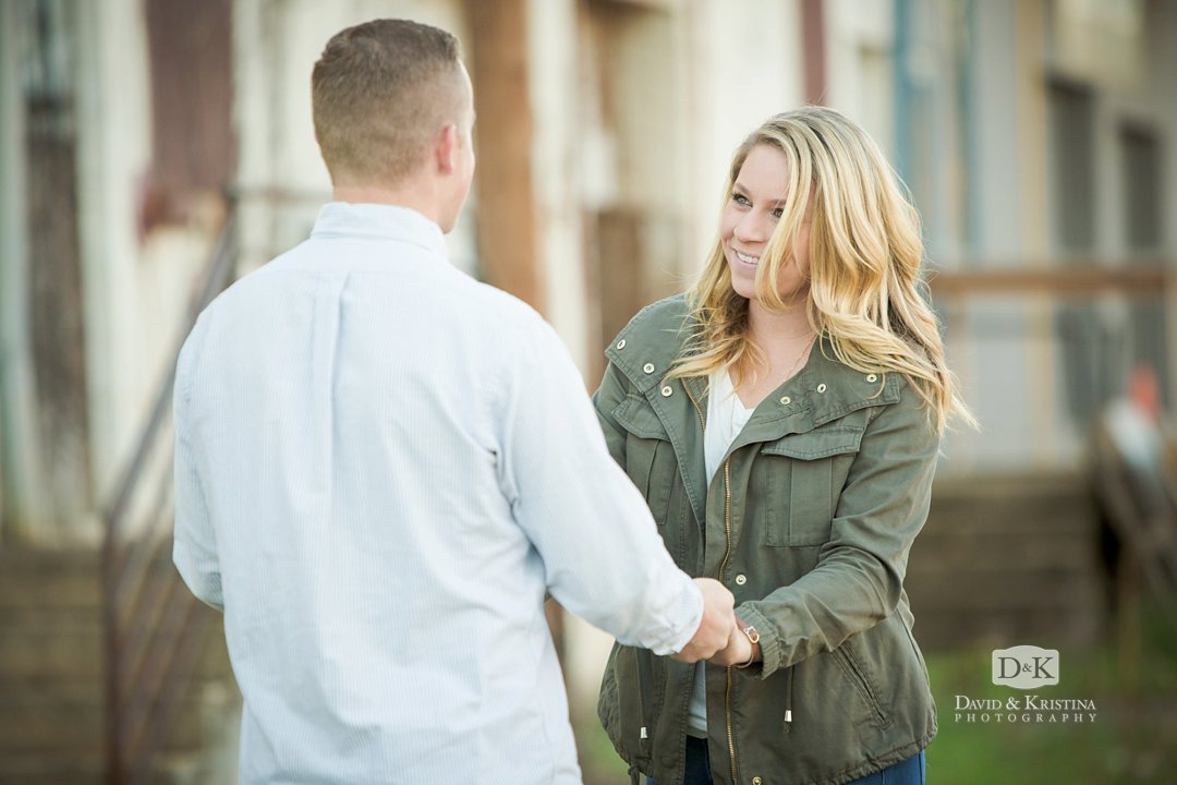 engagement session at an old distribution center
