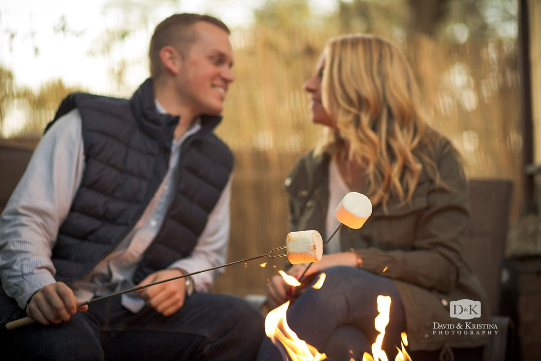 roasting marshmallows engagement photos