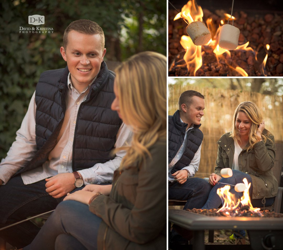 Roasting marshmallows engagement photo session