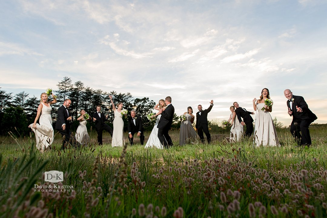 photos in field at Twigs Tempietto wedding