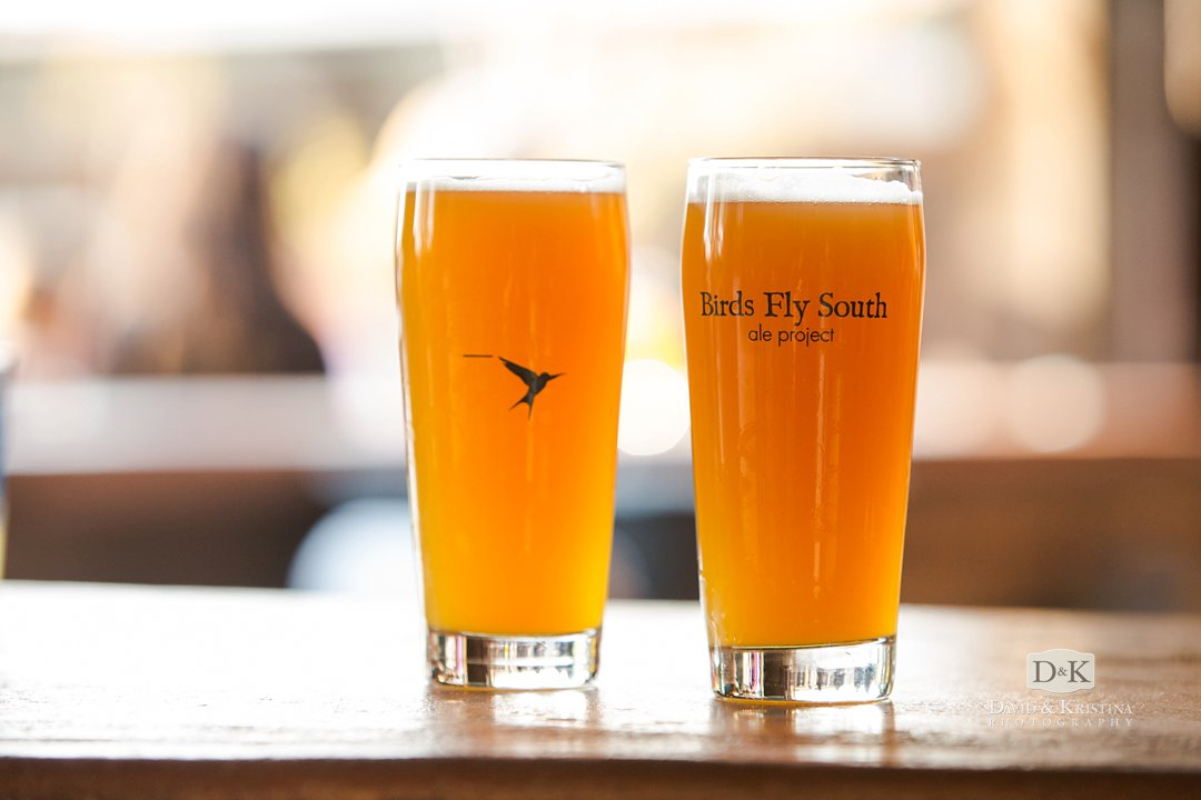 Beer glasses at Birds Fly South