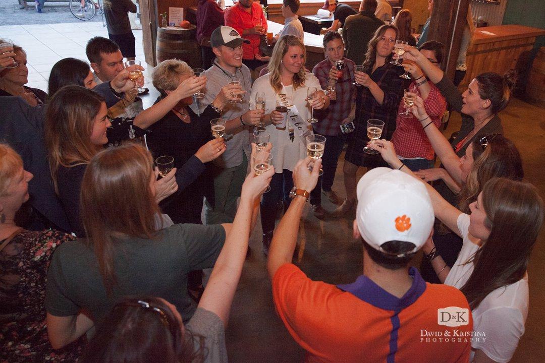 Sara's champagne toast